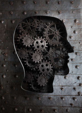 technology symbols metaphors: Brain concept: metal gears and cogs in human head