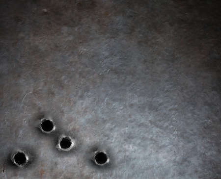 銃弾の穴とバック グラウンドを金属鎧