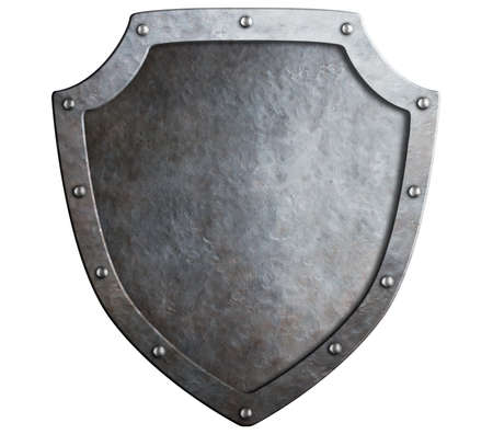 crusader: medieval metal shield isolated on white