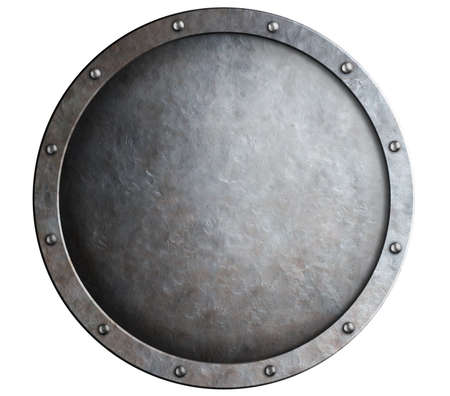 round metal medieval shield isolated photo