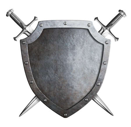 aged metal shield with crossed swords isolated on white photo