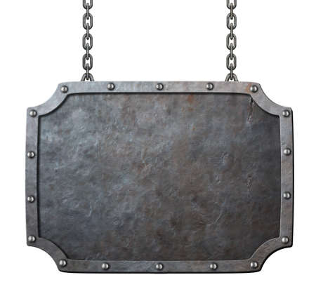 medieval metal sign or frame with chains isolated on white photo