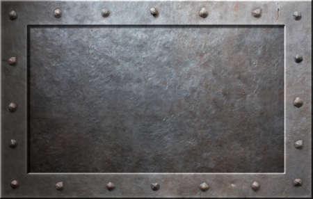 acier: Cadre métallique avec des rivets vieux Banque d'images
