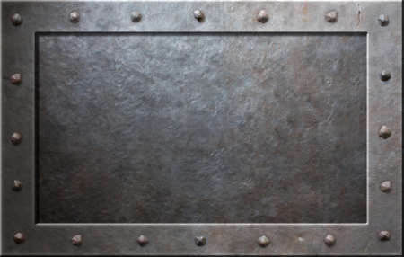 Old metal frame with rivets photo