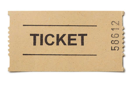 entry numbers: Simple paper ticket isolated on white