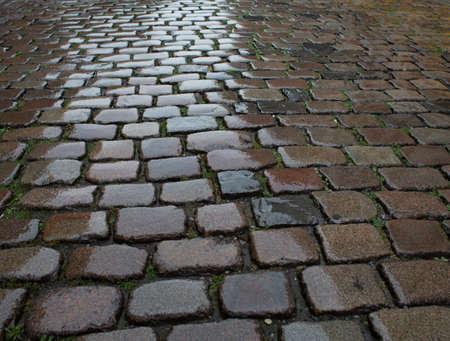 Wet cobblestone pavement Stock Photo - 31043583
