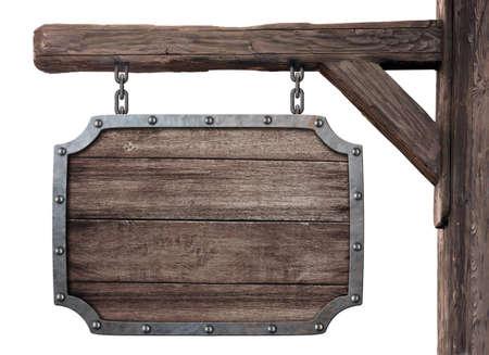 oude houten middeleeuwse taveerne uithangbord geïsoleerd op wit