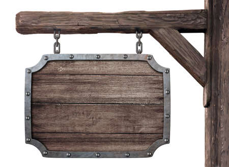 stare drewniane średniowieczne tawerny tablica samodzielnie na białym tle