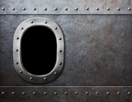 ship or submarine window steam punk metal background Stock Photo