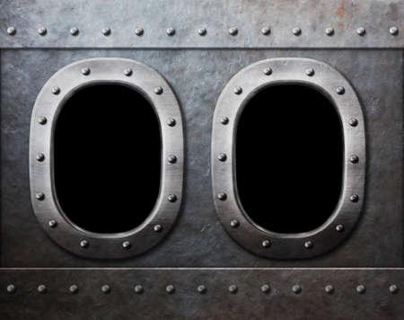 Due navi o sottomarini militari finestre come sfondo steam punk metal Archivio Fotografico - 31149284