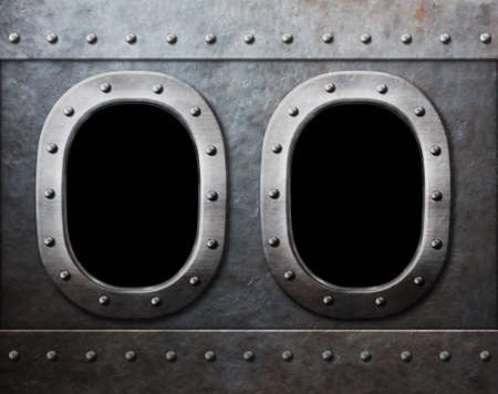 two military ship or submarine windows as steam punk metal background Stock Photo