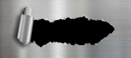 metal background with isolated black ripped hole for your image