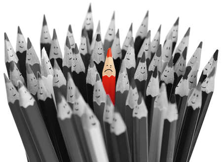among: Crying red pencil among crowd of happy pencils