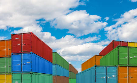 dockyard: export or import shipping cargo container stacks in port
