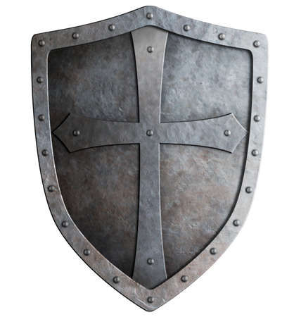 medieval crusader knights shield isolated on white photo