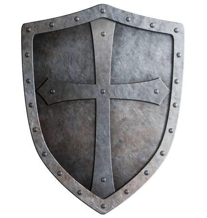 Scudo medievale crociato del cavaliere isolato su bianco Archivio Fotografico - 31281638