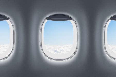 Three airplane or jet windows