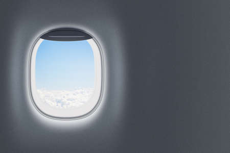 Airplane or jet window on wall with blank space photo