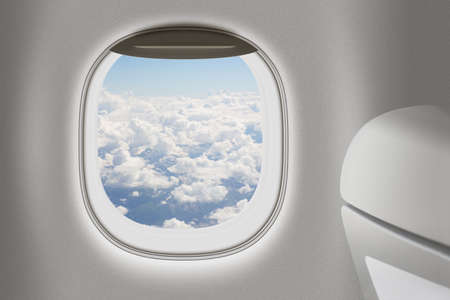 Aeroplane or jet interior with window and chair as traveling concept. photo