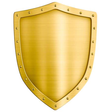 金色の金属製シールドを白で隔離されます。