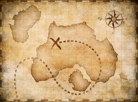 isla del tesoro: Mapa Piratas con la ubicación del tesoro marcada