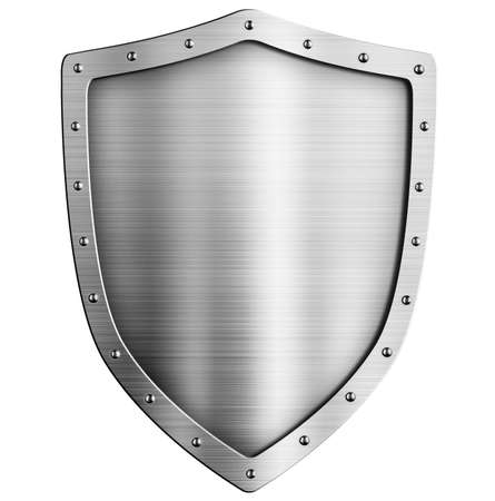 armour: golden metal shield isolated on white