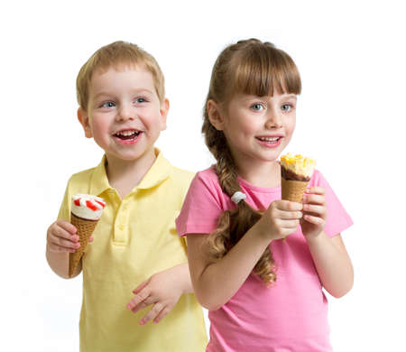 two kids with cone ice cream isolated on white photo