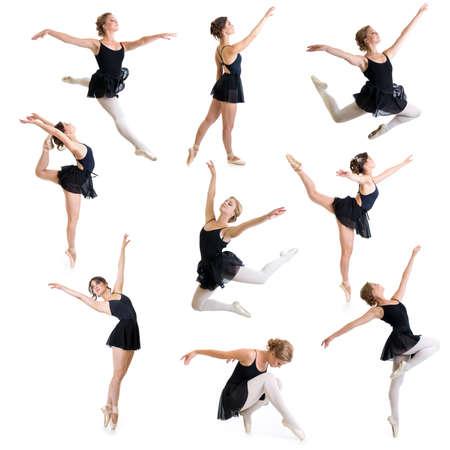 bailarina de ballet: bailarines de ballet aislados en blanco conjunto