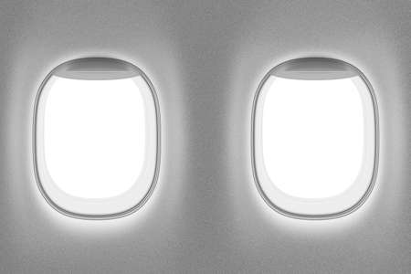 airplane window: airplane or jet interior with two windows