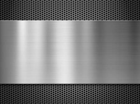 steel metal plate over grate background photo