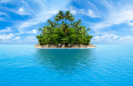 tropical island in ocean Stock Photo