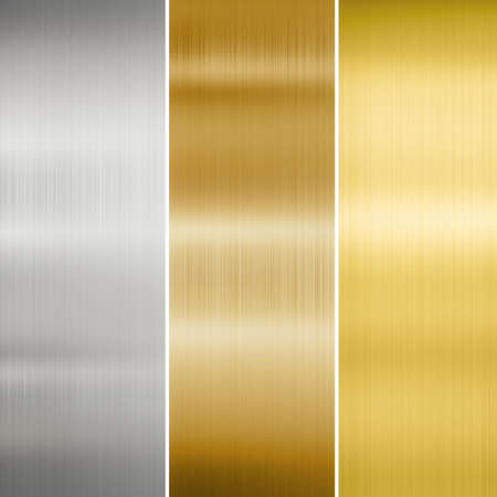 brushed: metal texture: gold, silver and bronze