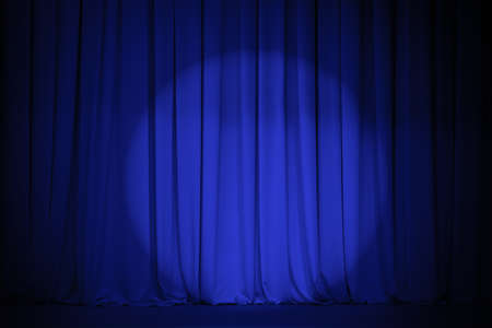 theater blue curtain with light spot