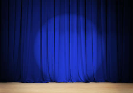 awards ceremony: theater blue curtain with wooden stage