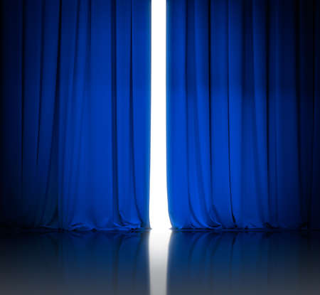 blue theater or cinema curtains slightly open and white light behind