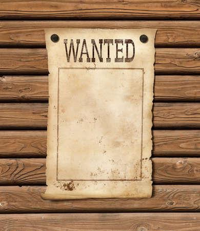 hoja en blanco: Se busca la hoja de papel en blanco. Cartel del oeste salvaje.