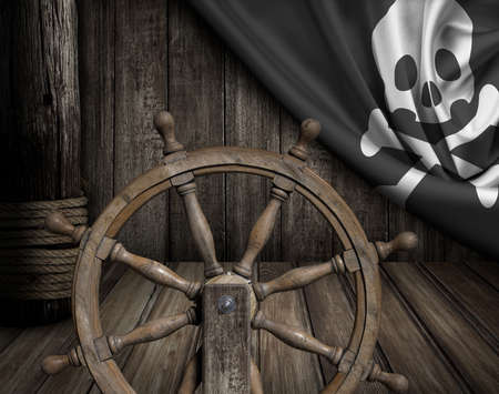 ship deck: Pirates ship deck  with steering wheel and flag