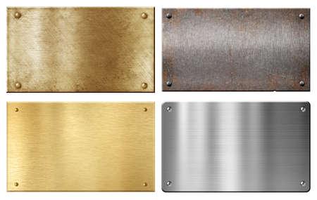 白で隔離される黄銅、鋼鉄、アルミニウム金属プレート セット