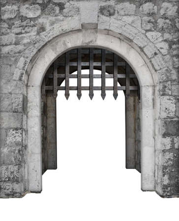 Medieval castle main enter or gate isolated