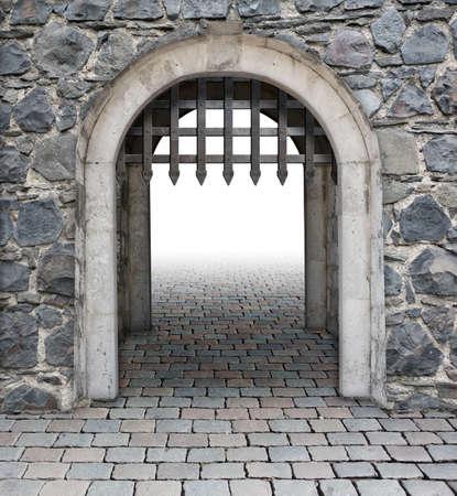 Château principal entrer ou porte médiévale Banque d'images - 32011243