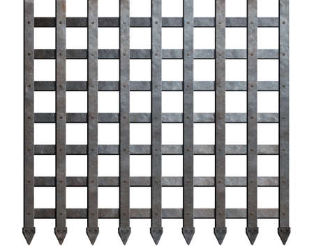 iron gate: Medieval metal bars isolated