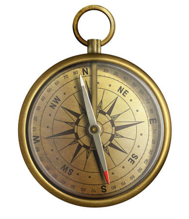 old brass compass, realistic illustration isolated on white illustration