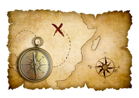 carte tr�sor: Carte au tr�sor des pirates avec boussole isol� Banque d'images