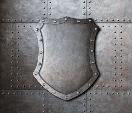 armoring: metal shield over armor plates background