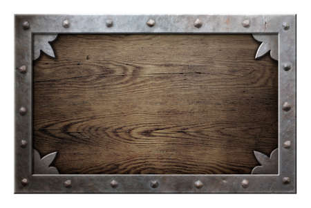 wooden plaque: old metal frame over wooden background isolated