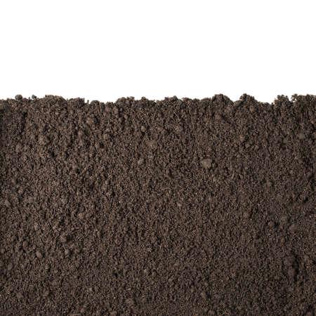 terreno: Sezione del suolo o sporco isolato su sfondo bianco Archivio Fotografico