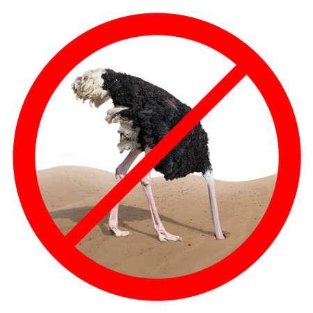 avestruz: Comportamiento de avestruz aislado concepto de signo rojo prohibido Foto de archivo