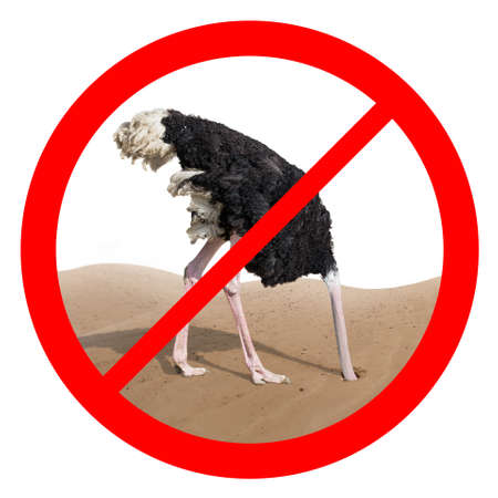 Ostrich behavior forbidden red sign isolated concept
