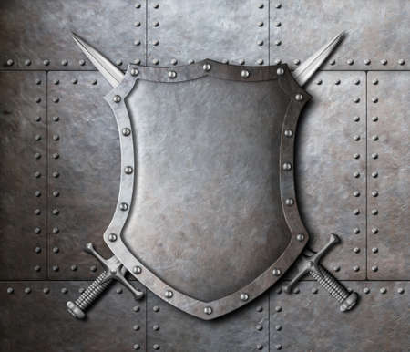 armoring: metal shield and two crossed swords over armor plates background