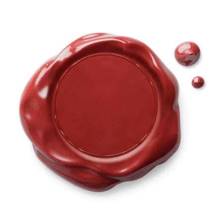 sellos: Sello de cera roja aislado en blanco